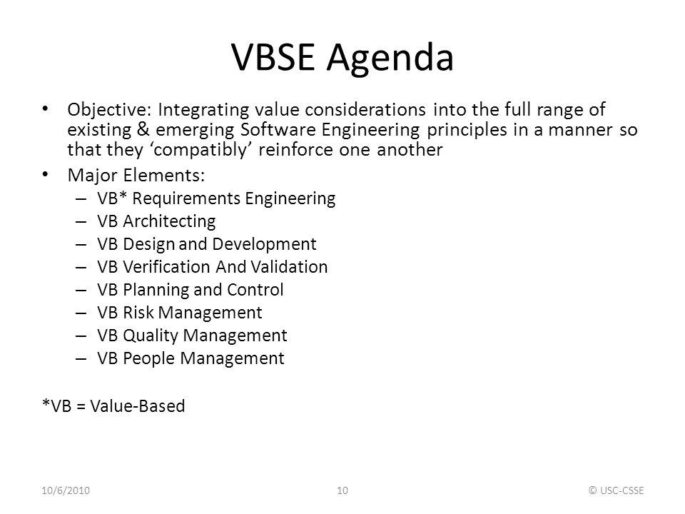 VBSE Agenda