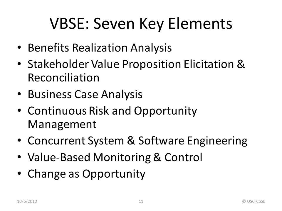 VBSE: Seven Key Elements