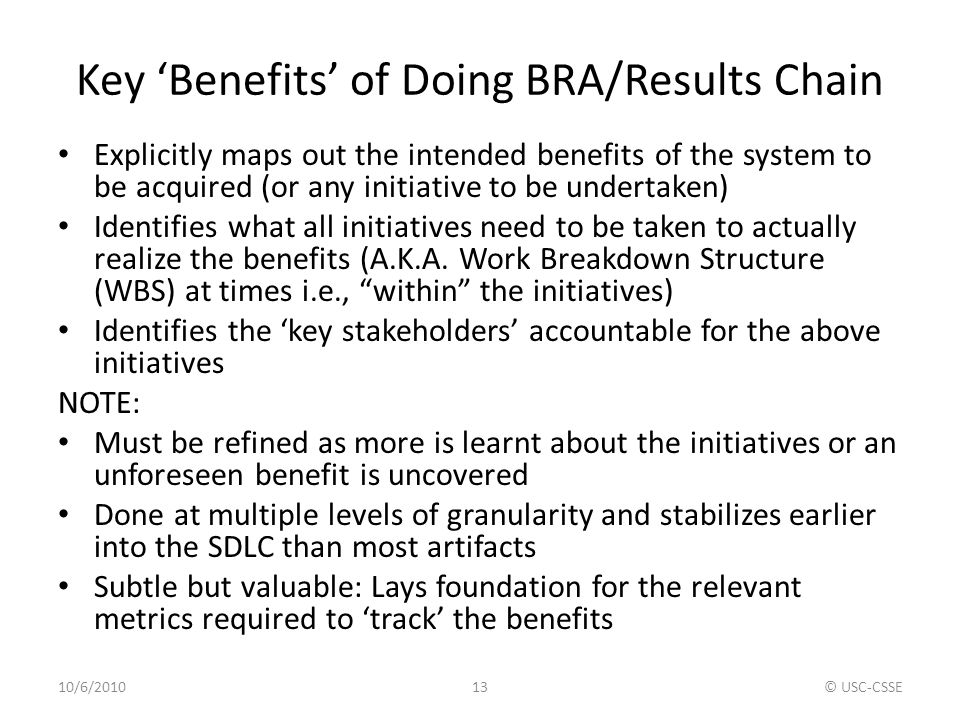 Key 'Benefits' of Doing BRA/Results Chain