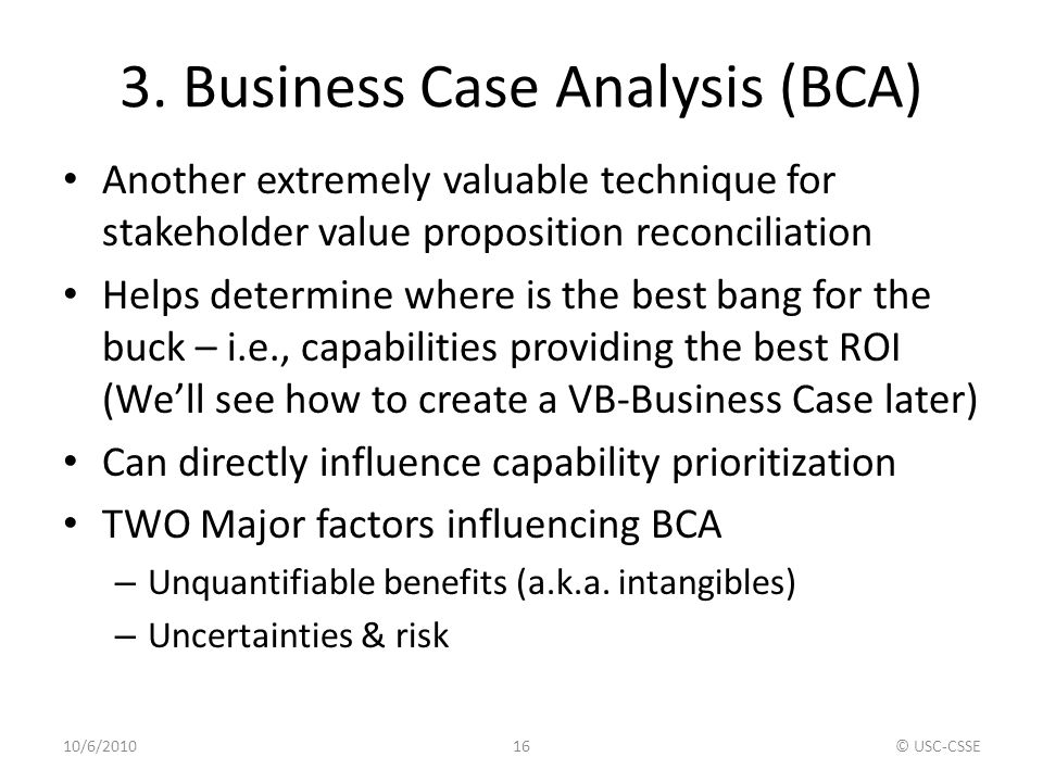 3. Business Case Analysis (BCA)