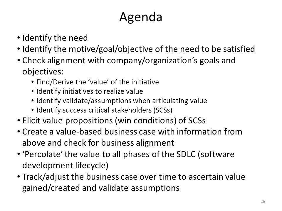 Agenda Identify the need