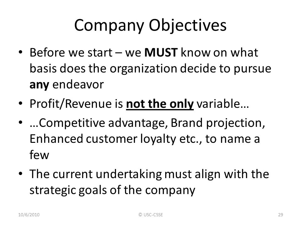 Company Objectives Before we start – we MUST know on what basis does the organization decide to pursue any endeavor.