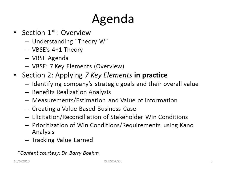 Agenda Section 1* : Overview