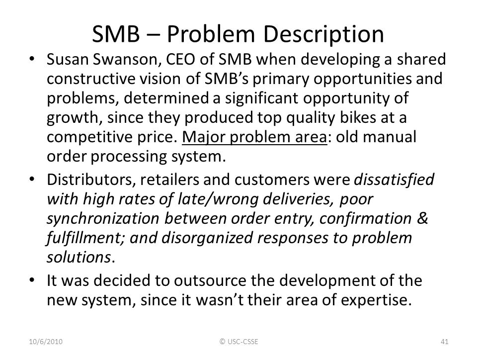 SMB – Problem Description