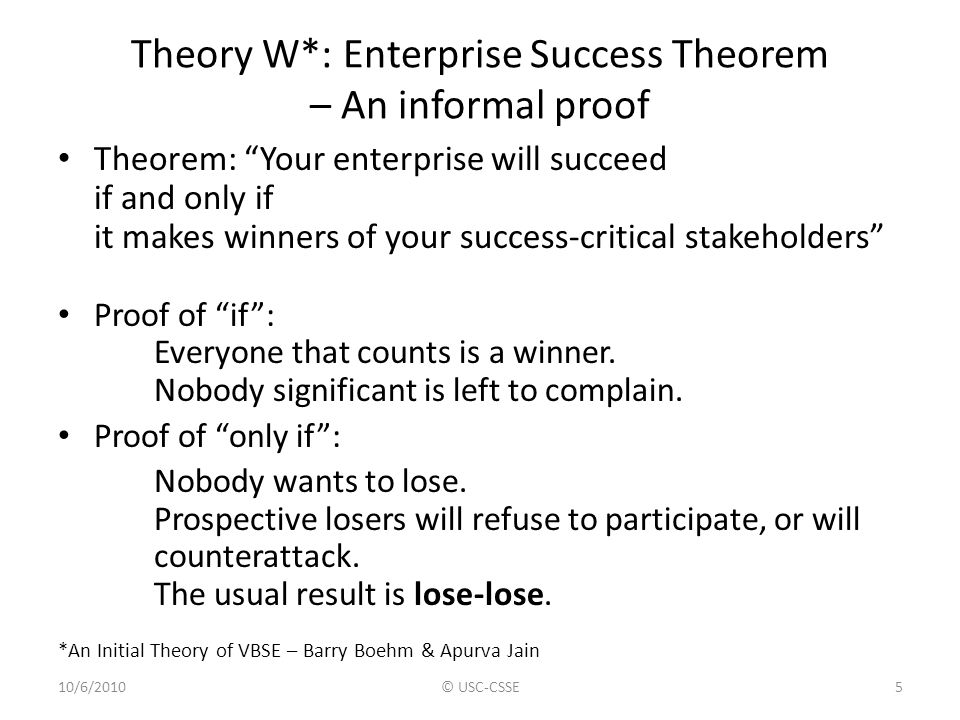 Theory W*: Enterprise Success Theorem – An informal proof