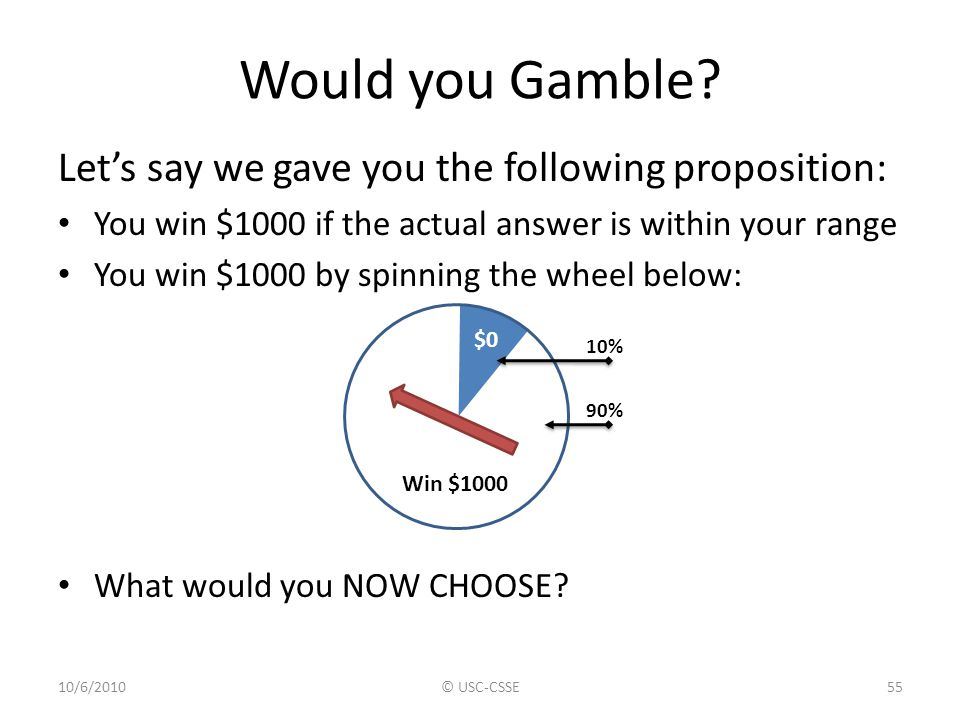 Would you Gamble Let's say we gave you the following proposition: