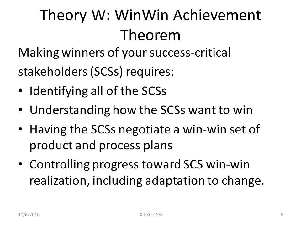 Theory W: WinWin Achievement Theorem