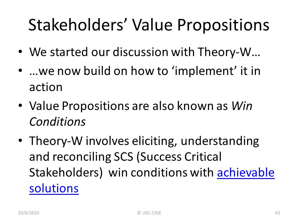 Stakeholders' Value Propositions