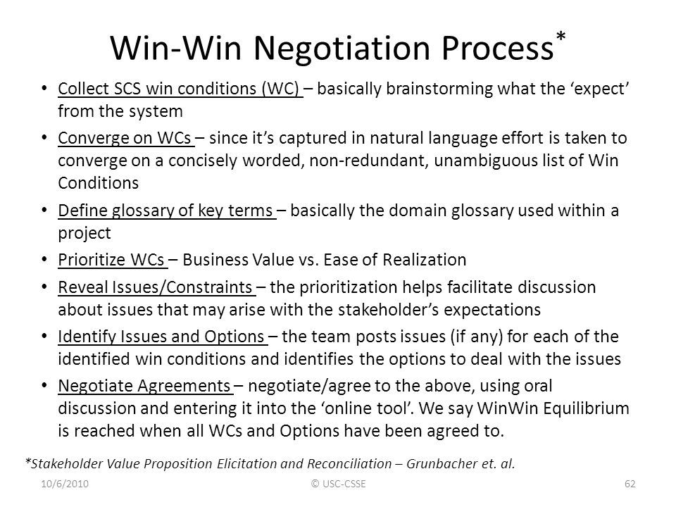 Win-Win Negotiation Process*