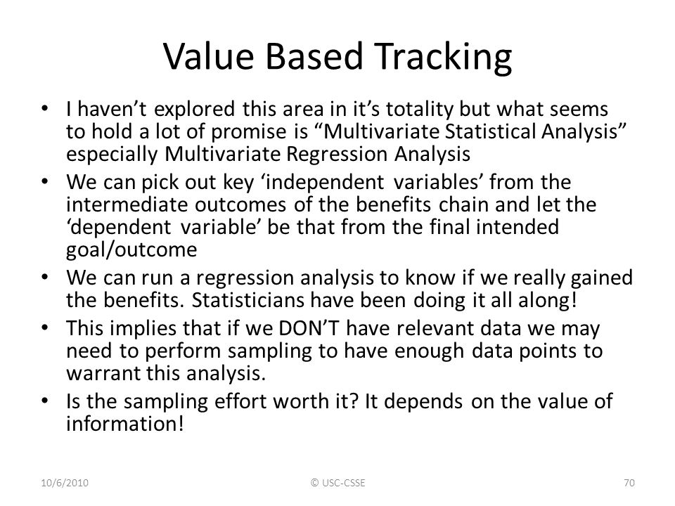 Value Based Tracking