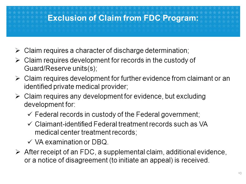Exclusion of Claim from FDC Program: