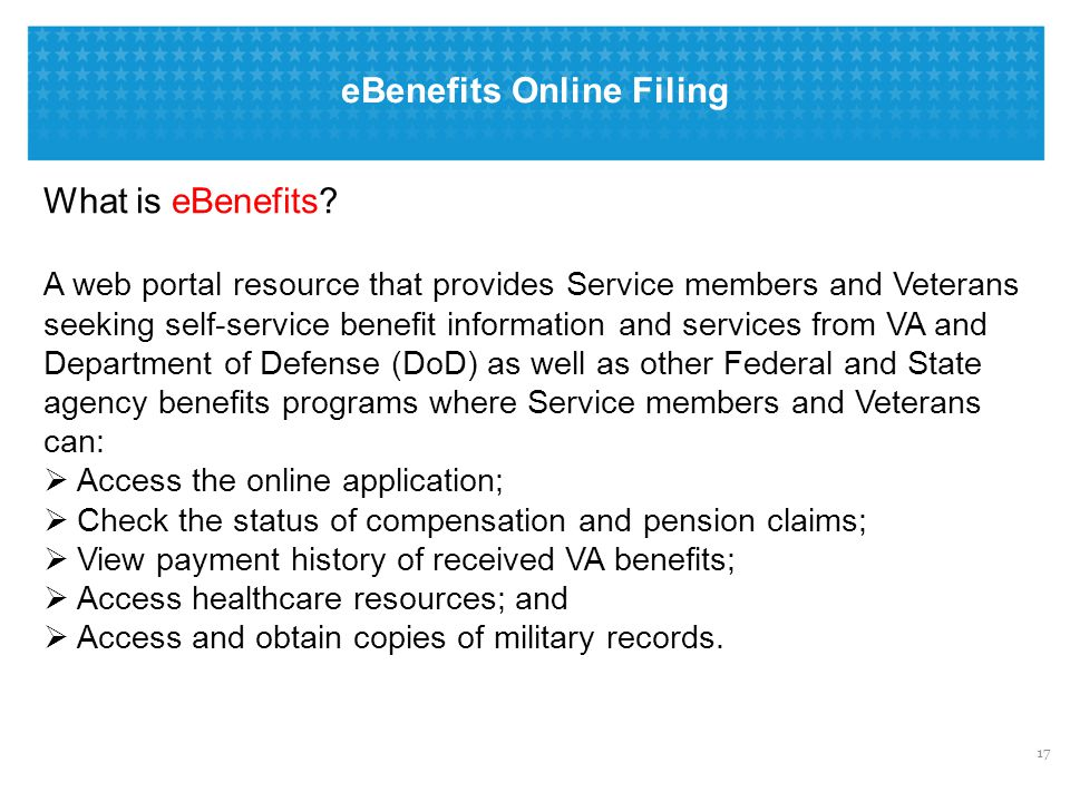 eBenefits Online Filing: Advantages