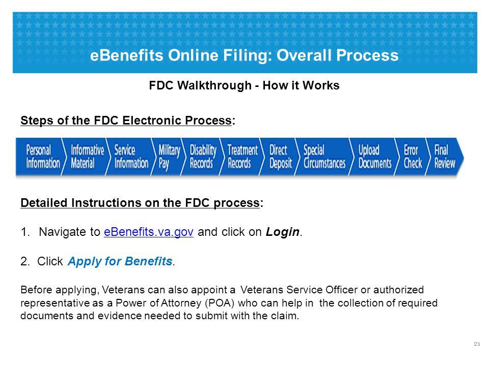 eBenefits Online Filing: Screen Shot – Starting the Application