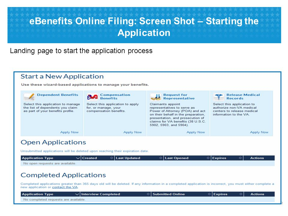 eBenefits Online Filing: Screen Shot – Claims Submission