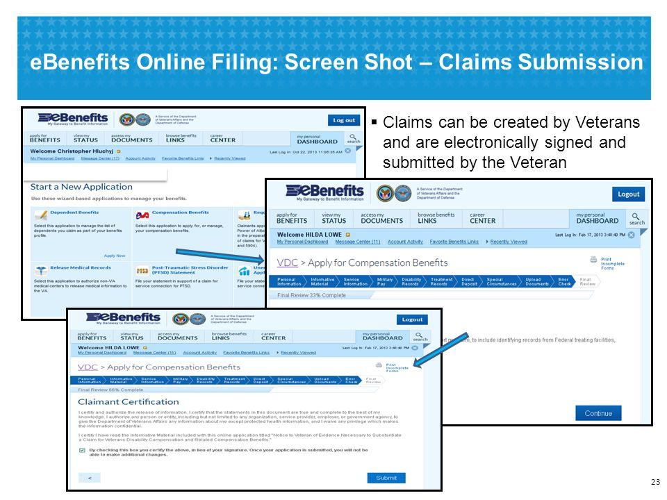 eBenefits Online Filing: Screen Shot - Uploading Additional Documents