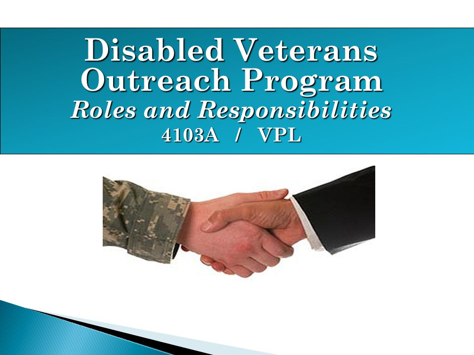 Disabled Veterans Outreach Program Roles and Responsibilities