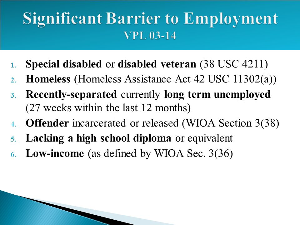 Significant Barrier to Employment VPL 03-14