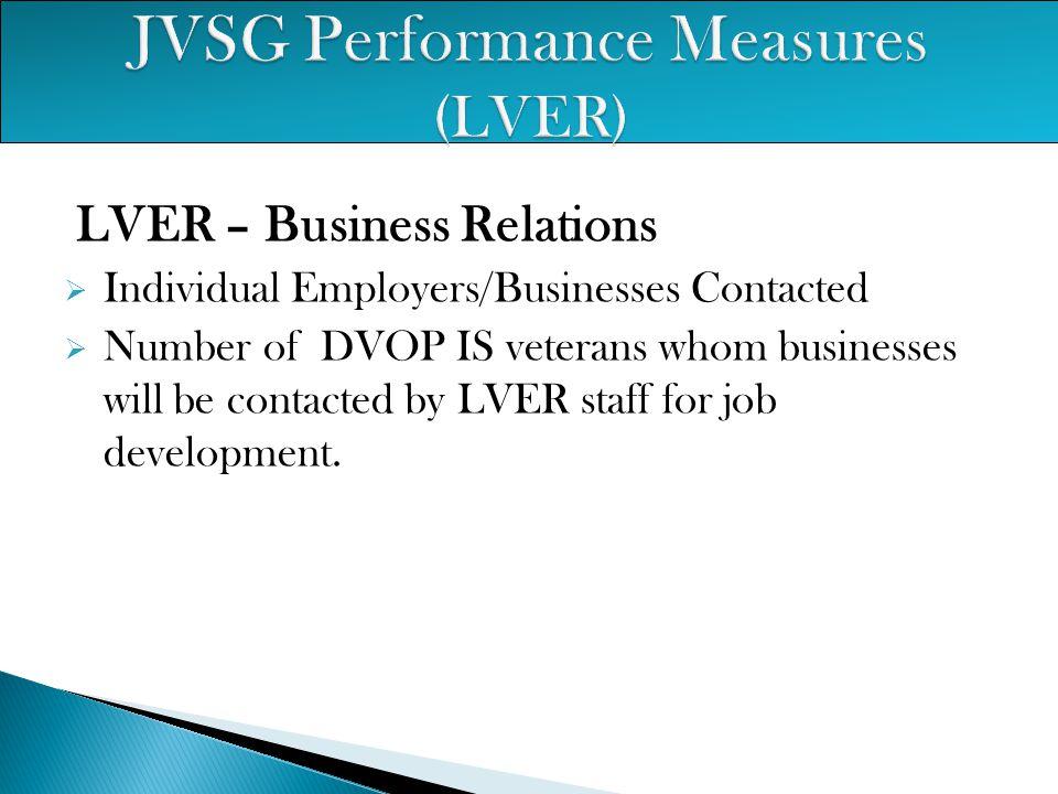 JVSG Performance Measures (LVER)