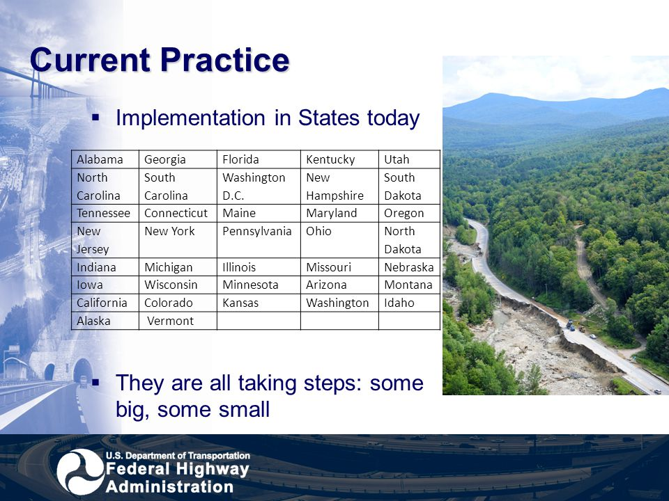 Current Practice Implementation in States today