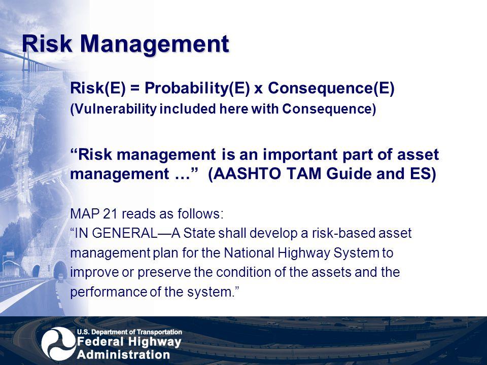 Risk Management Risk(E) = Probability(E) x Consequence(E)