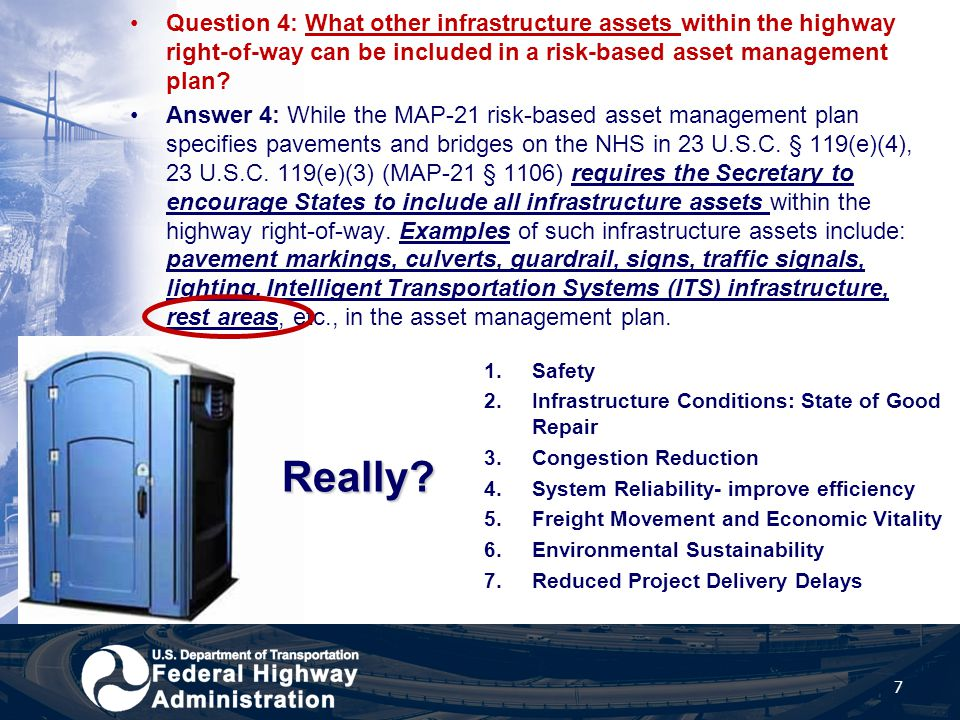 Question 4: What other infrastructure assets within the highway right-of-way can be included in a risk-based asset management plan