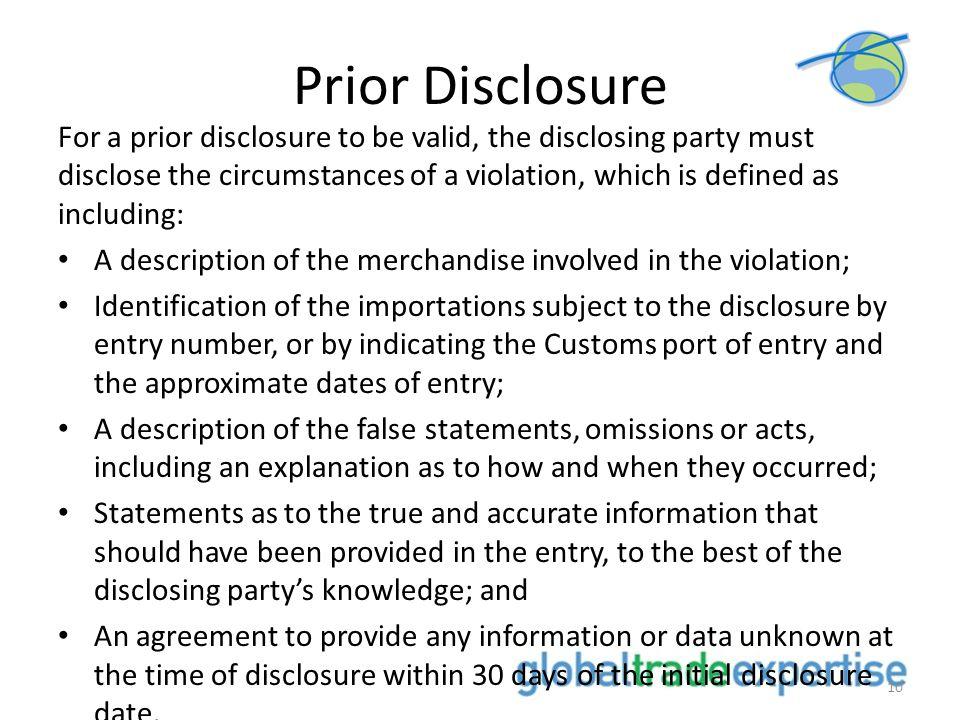 Prior Disclosure