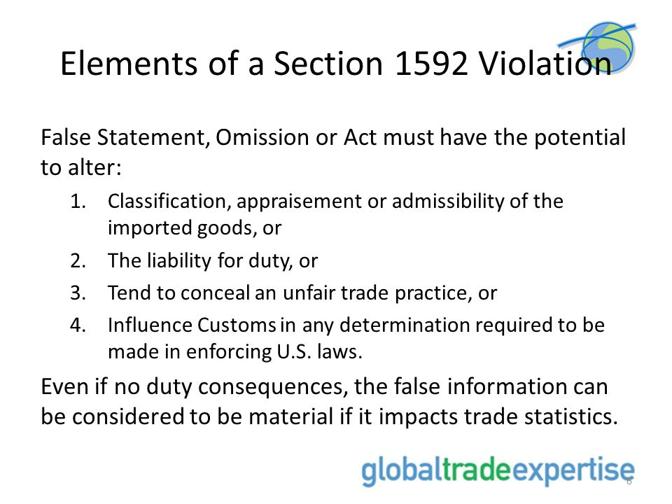 Elements of a Section 1592 Violation