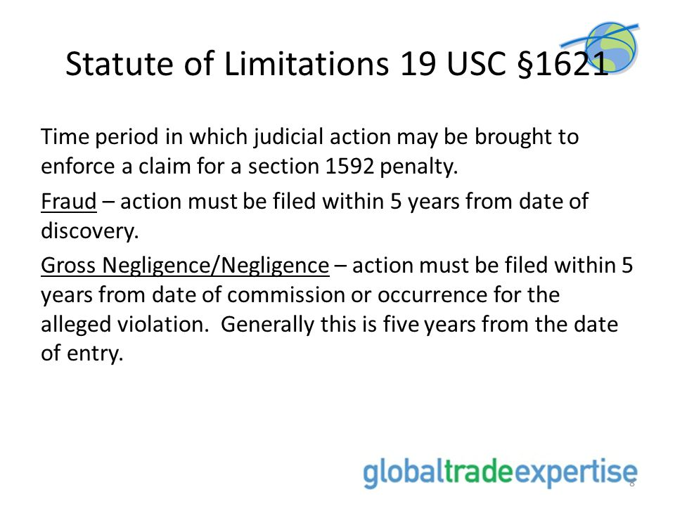 Statute of Limitations 19 USC §1621