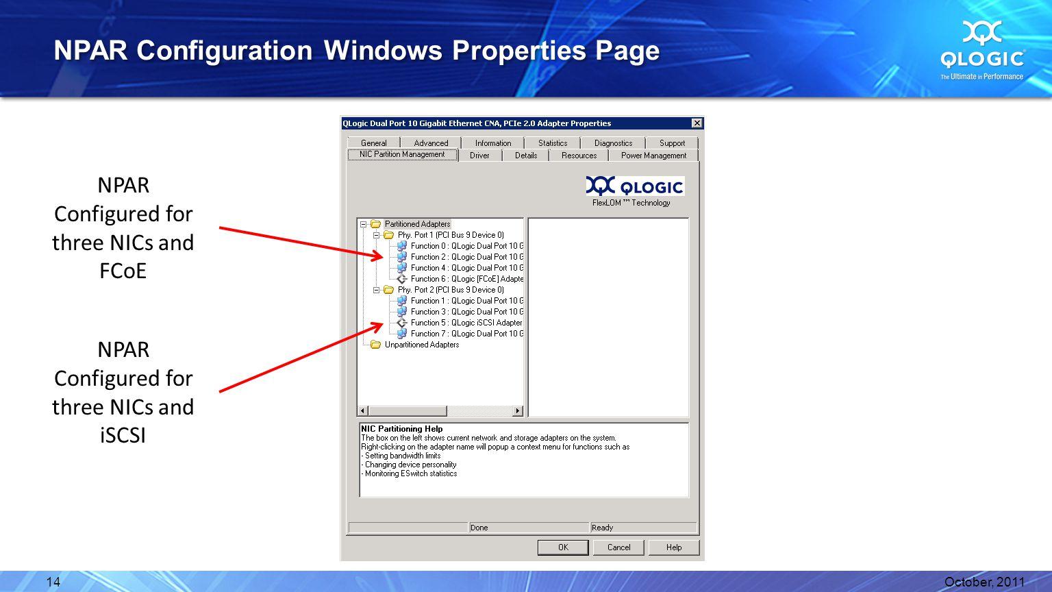 NPAR Configuration Windows Properties Page