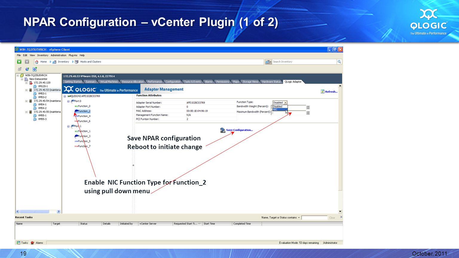 NPAR Configuration – vCenter Plugin (1 of 2)