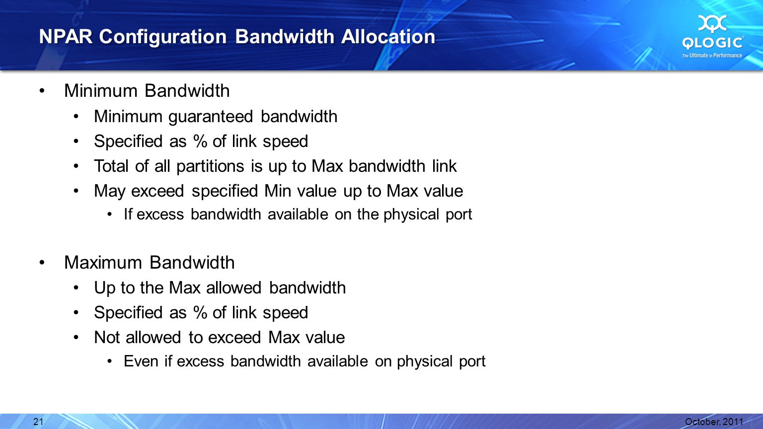 NPAR Configuration Bandwidth Allocation