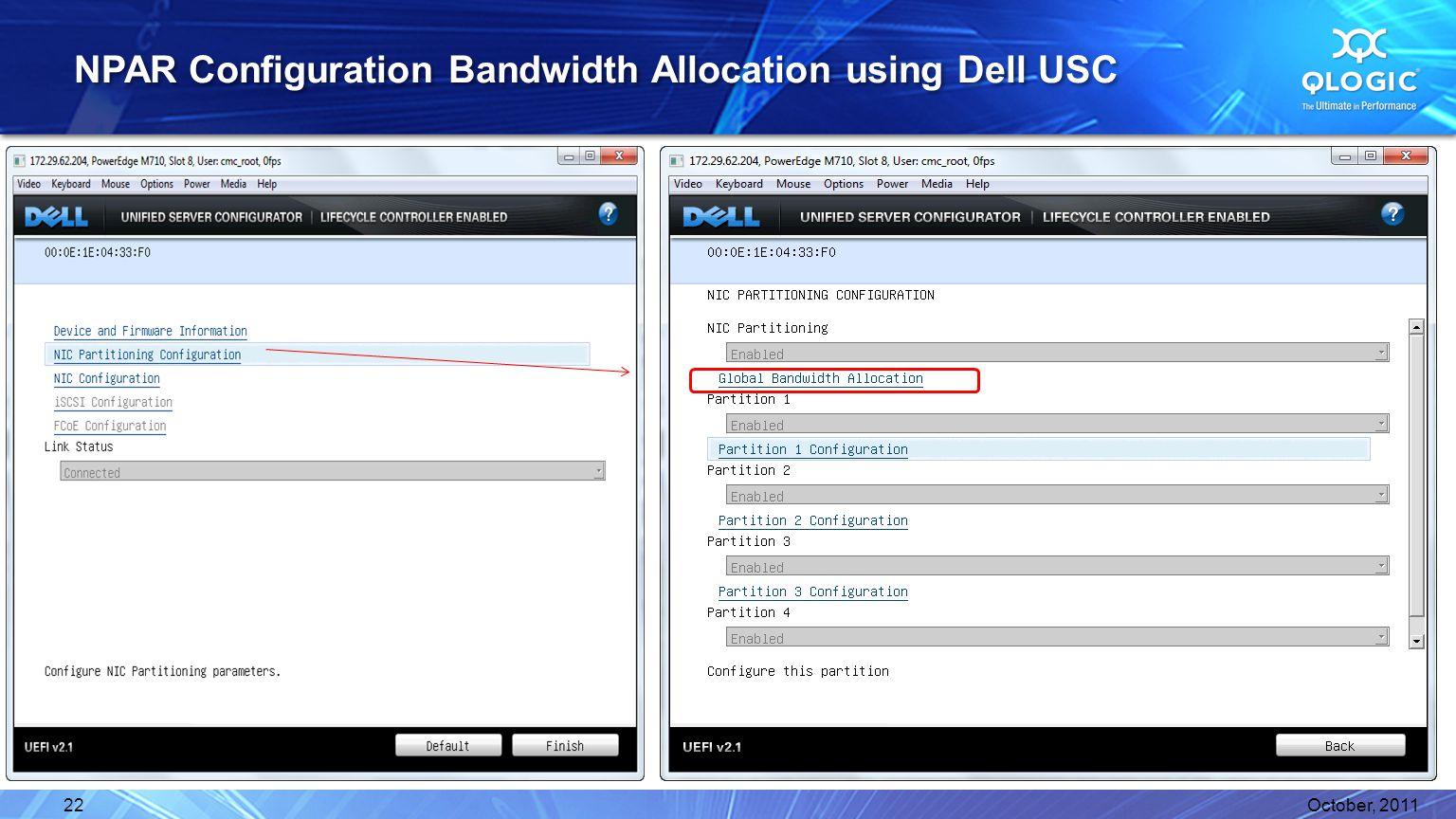 NPAR Configuration Bandwidth Allocation using Dell USC