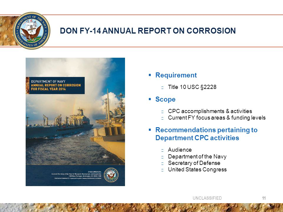 DON FY-14 ANNUAL REPORT ON CORROSION