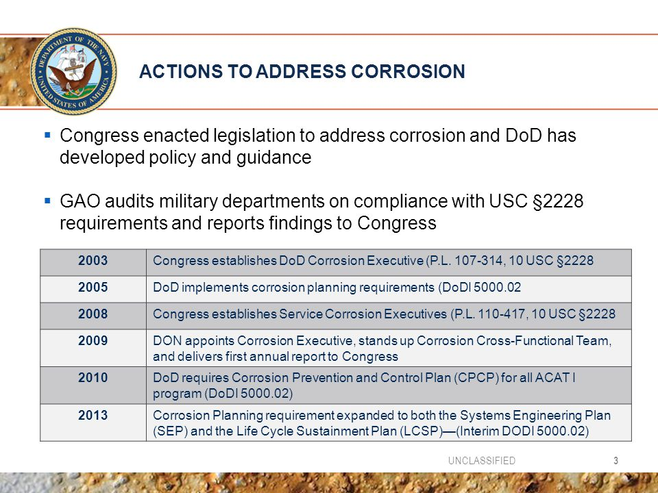 ACTIONS TO ADDRESS CORROSION
