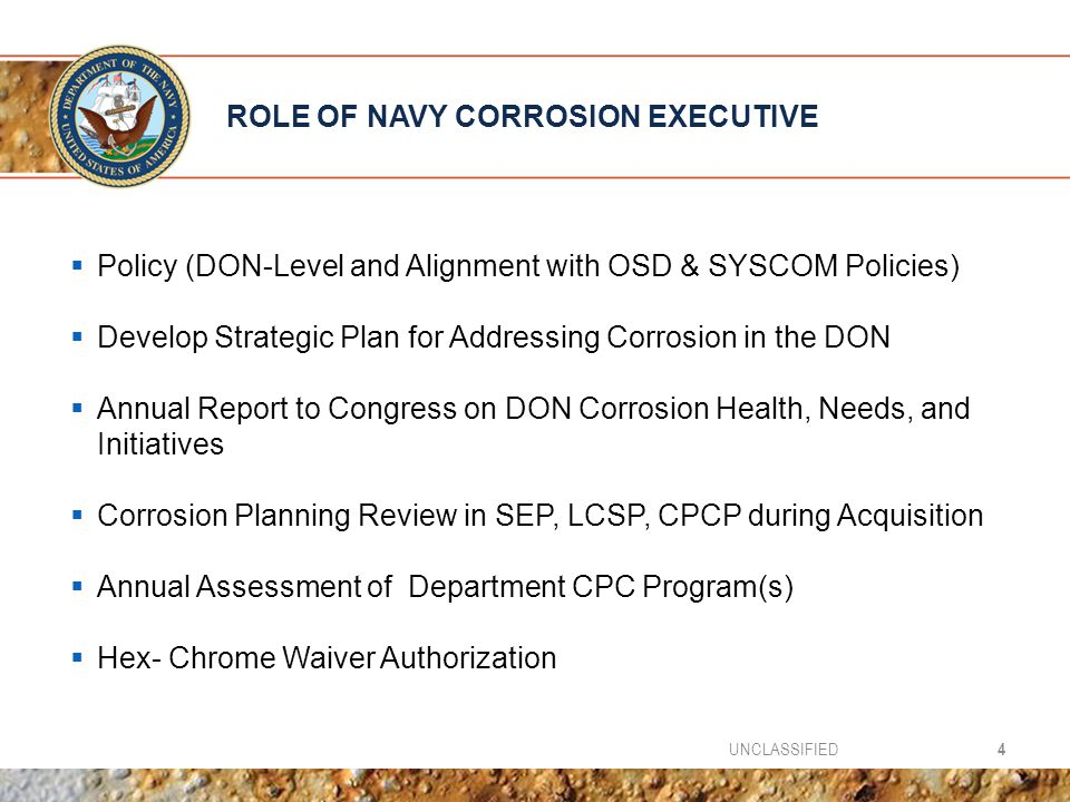 ROLE OF NAVY CORROSION EXECUTIVE