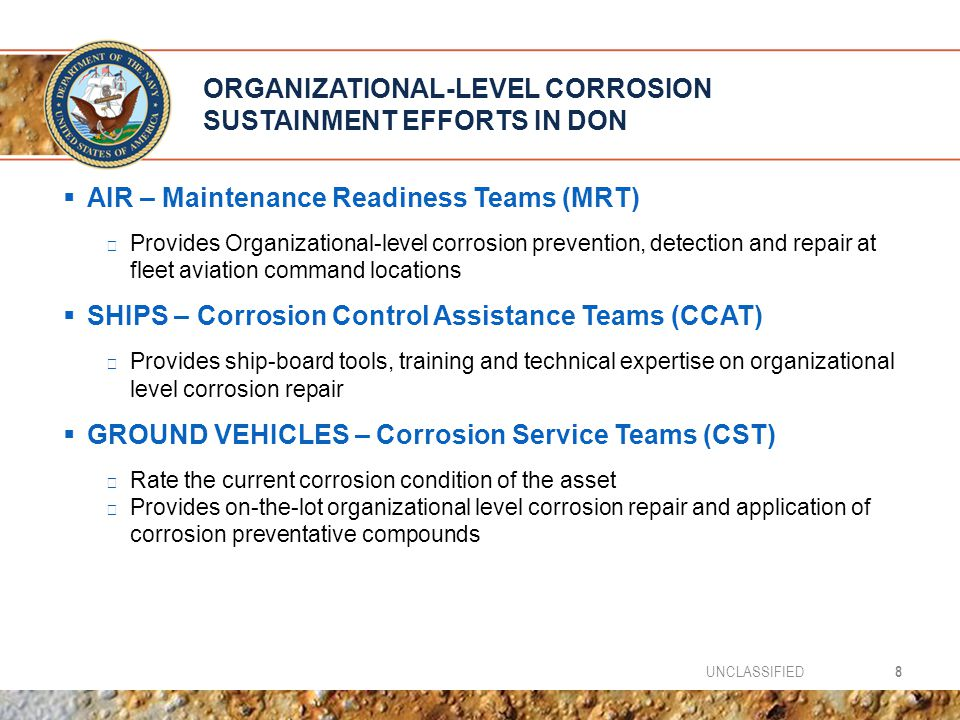Organizational-Level Corrosion Sustainment efforts in DON