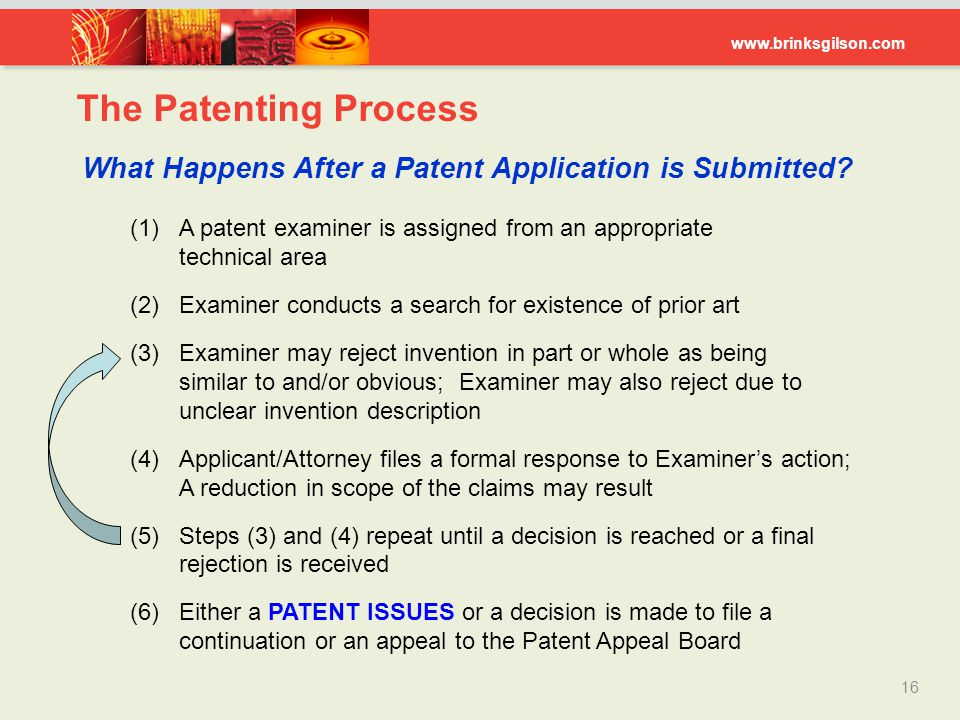 The Patenting Process What Happens After a Patent Application is Submitted (1) A patent examiner is assigned from an appropriate technical area.