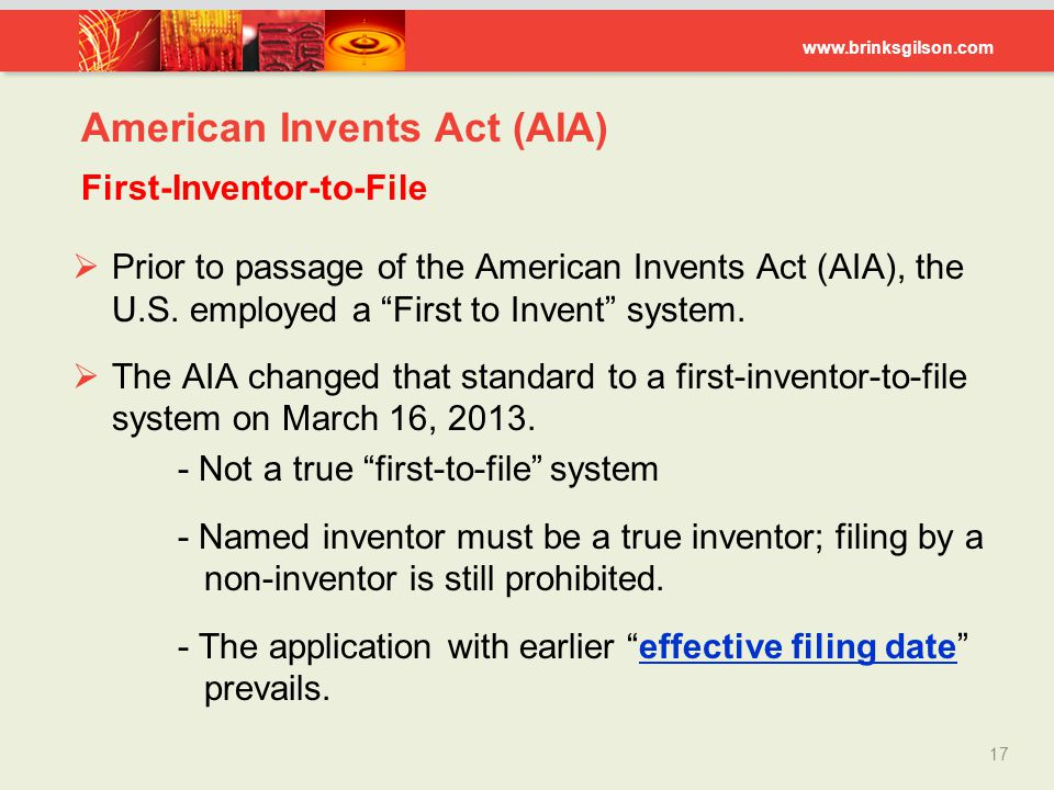American Invents Act (AIA) First-Inventor-to-File