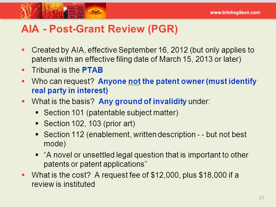 AIA - Post-Grant Review (PGR)