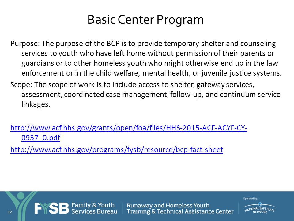 Basic Center Program