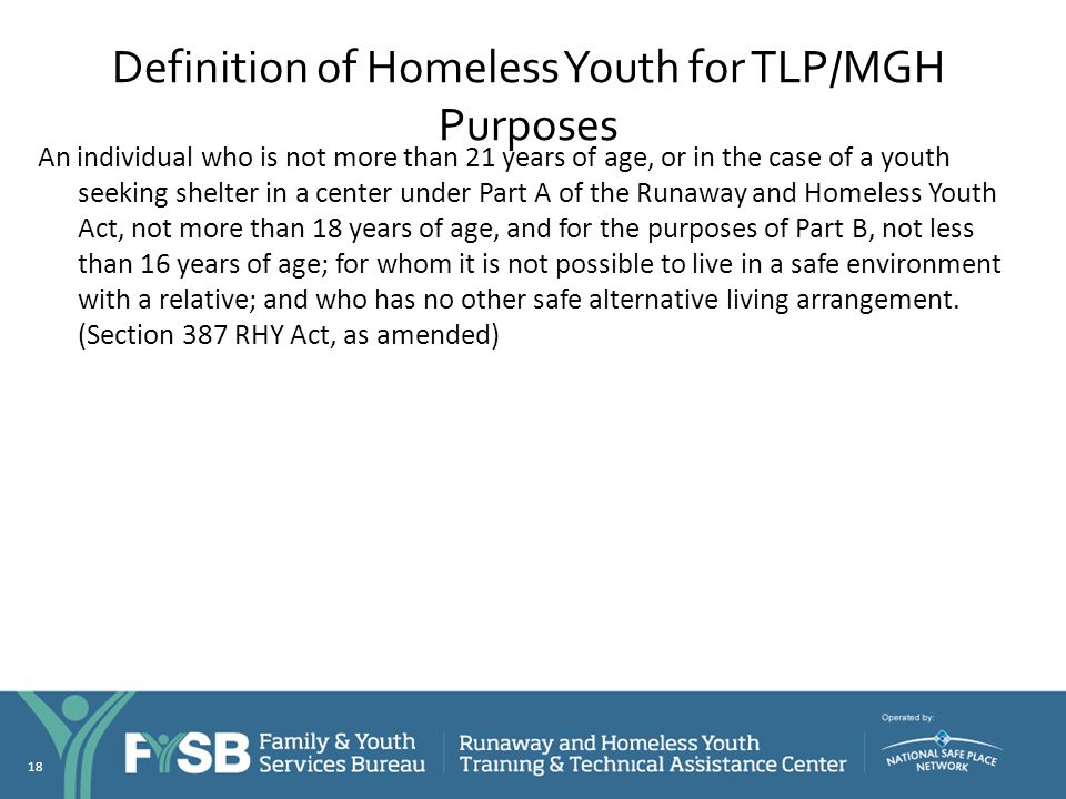 Definition of Homeless Youth for TLP/MGH Purposes
