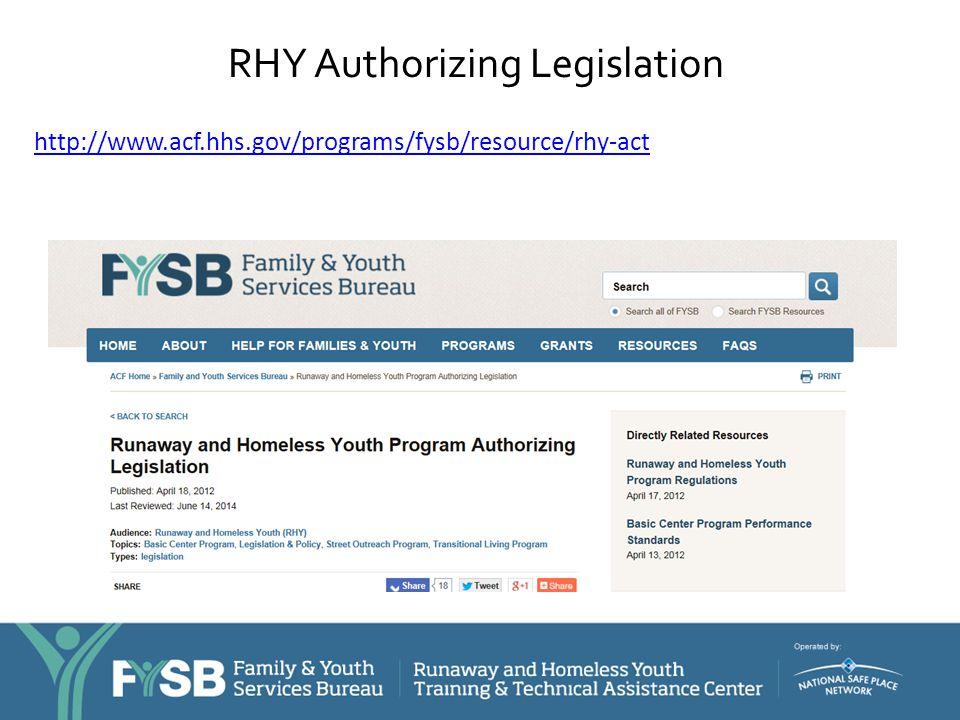 RHY Authorizing Legislation