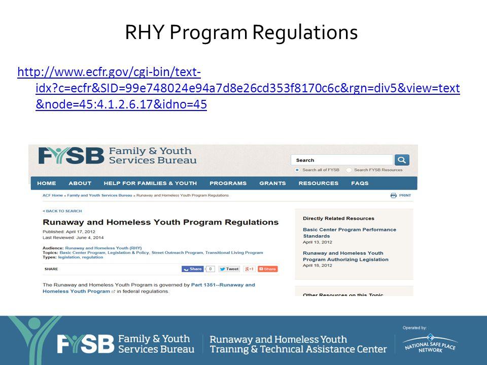 RHY Program Regulations