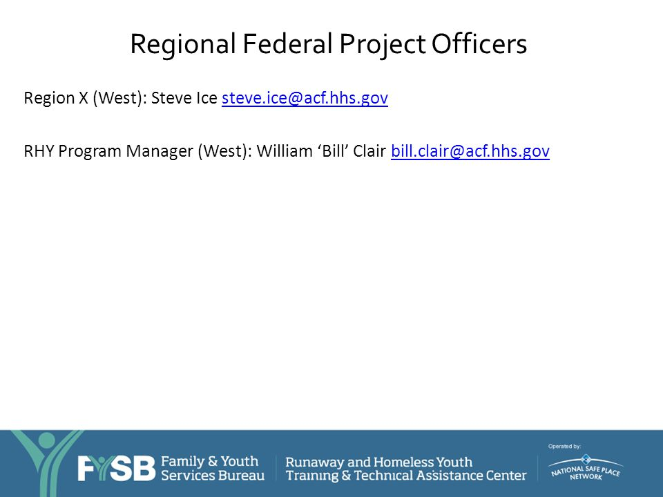 Regional Federal Project Officers