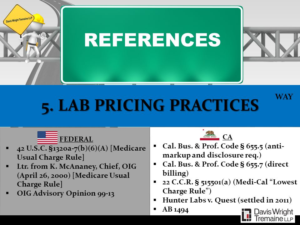 REFERENCES 5. LAB PRICING PRACTICES WAY CA FEDERAL