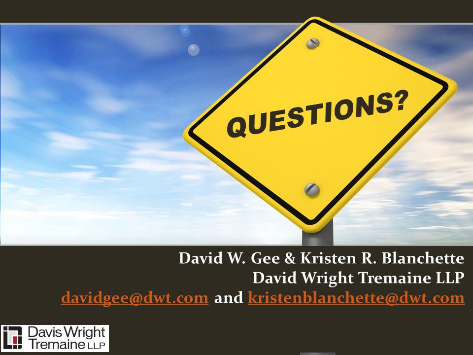 QUESTIONS. David W. Gee & Kristen R.