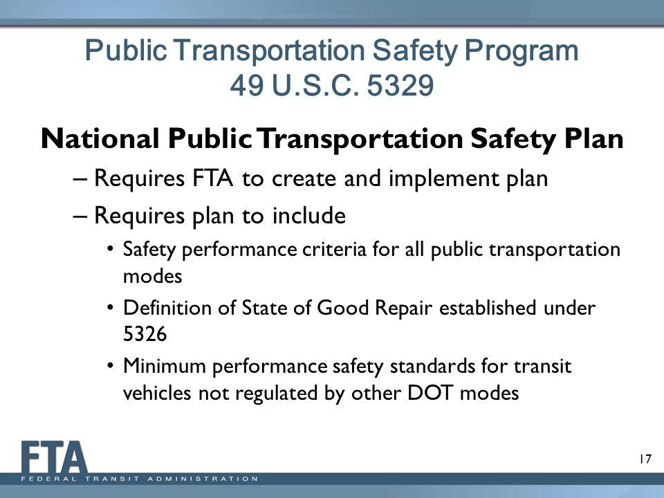 Public Transportation Safety Program 49 U.S.C. 5329