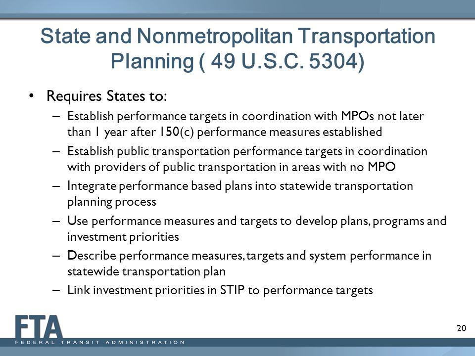 State and Nonmetropolitan Transportation Planning ( 49 U.S.C. 5304)