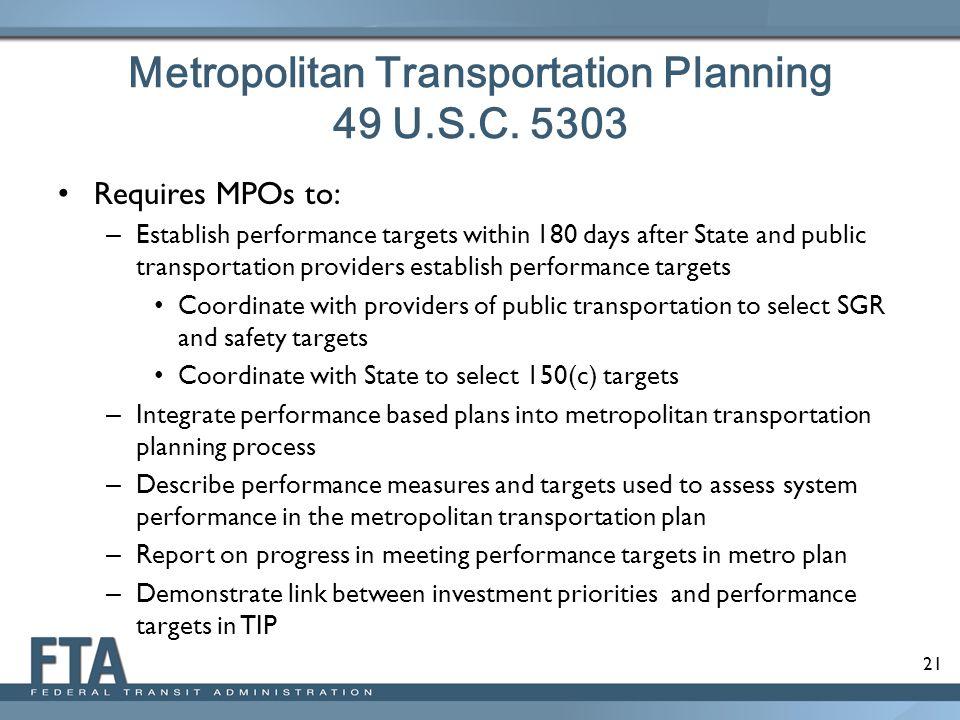 Metropolitan Transportation Planning 49 U.S.C. 5303