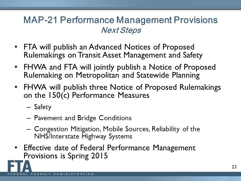MAP-21 Performance Management Provisions Next Steps